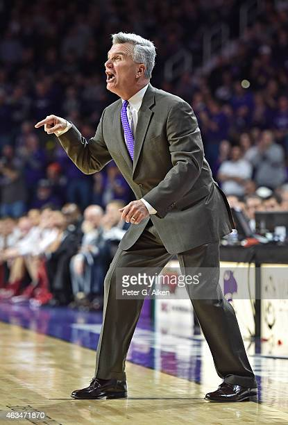 Head coach Bruce Weber of the Kansas State Wildcats calls out instructions against the Oklahoma Sooners during the second half on February 14 2015 at...