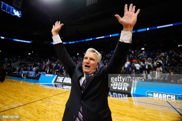 Head coach Bruce Weber of the Kansas State Wildcats celebrates after defeating the Kentucky Wildcats during the 2018 NCAA Men's Basketball Tournament...