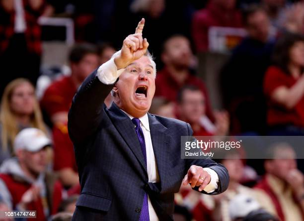 Head coach Bruce Weber of the Kansas State Wildcats coaches from the bench in the second half of play against the Iowa State Cyclones at Hilton...