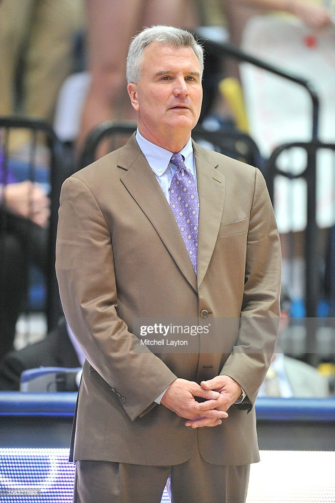 Head coach Bruce Weber of the Kansas State Wildcats looks on during a college basketball game against the George Washington Colonials on December 8, 2012 at the Smith Center in Washington, DC. The Wildcats won 65-62.