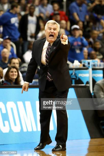 Head coach Bruce Weber of the Kansas State Wildcats reacts in the first half against the Kentucky Wildcats during the 2018 NCAA Men's Basketball...