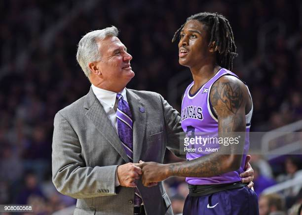 Head coach Bruce Weber of the Kansas State Wildcats talks with Cartier Diarra during the second half against the TCU Horned Frogs on January 20 2018...