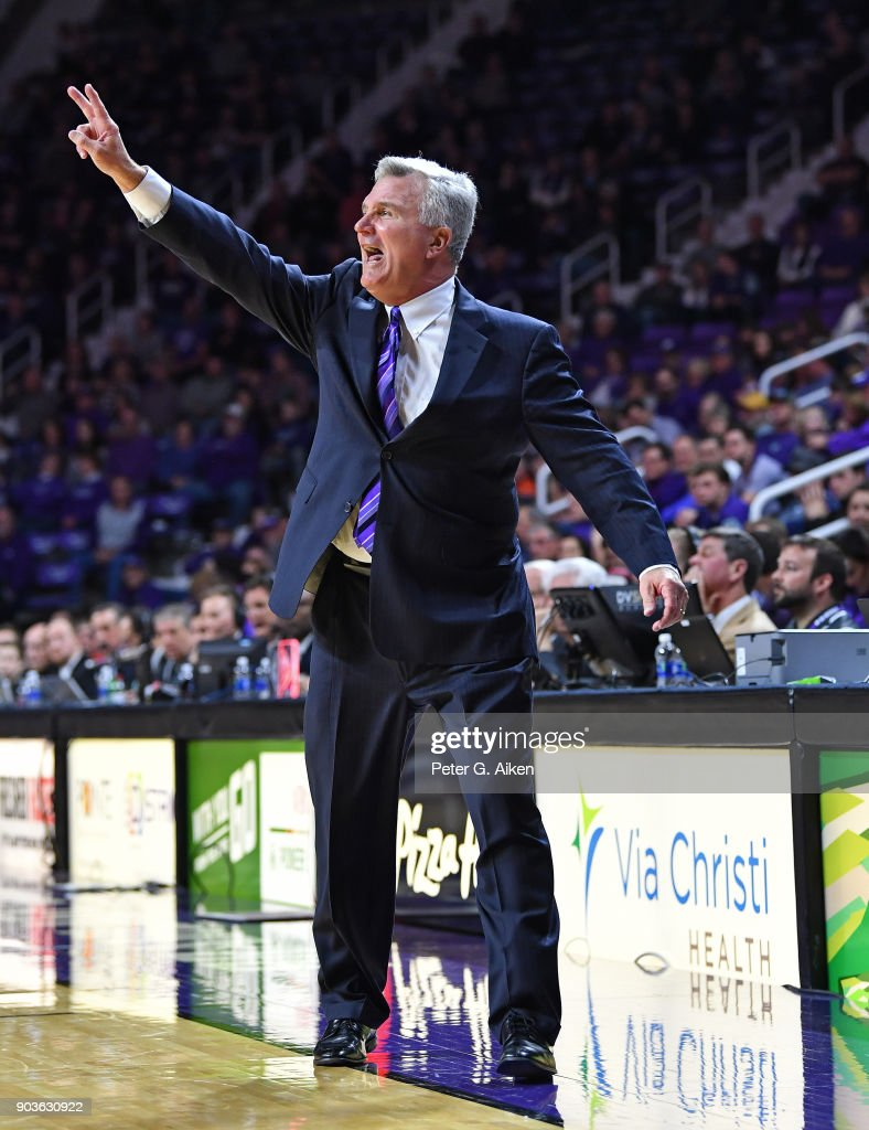 Head coach Bruce Weber of the Kansas State Wildcats yells out instructions against the Oklahoma State Cowboys during the second half on January 10, 2018 at Bramlage Coliseum in Manhattan, Kansas.