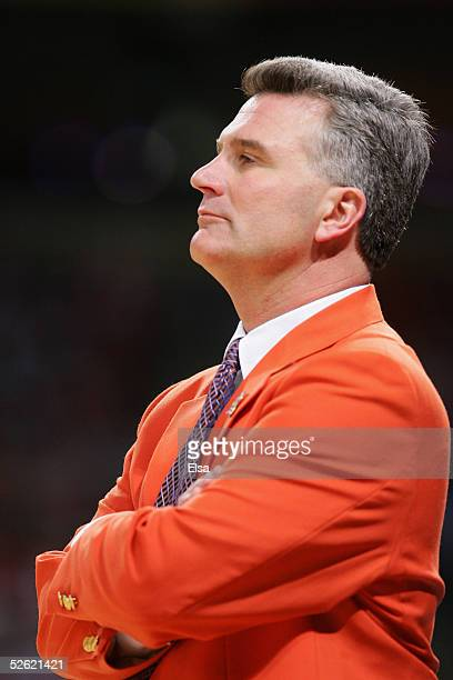 Head coach Bruce Weber of the University of Illinois at UrbanaChampaign Fighting Illini watches the the NCAA Men's National Championship against the...