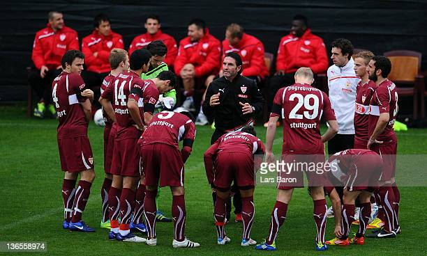 Head coach Bruno Labbadia gives instructions to his players prior to a friendly match between VfB Stuttgart and Germinal Beerschot Antwerpen at...
