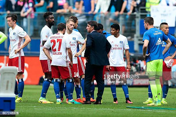 Head coach Bruno Labbadia of Hamburg appears frustrated after the Bundesliga match between Hamburger SV and RB Leipzig at Volksparkstadion on...