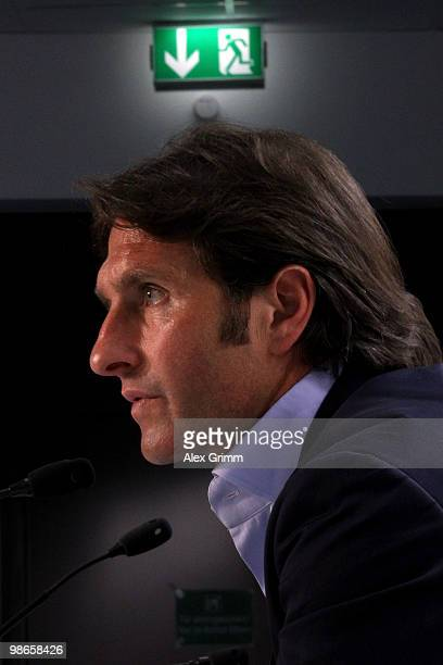 Head coach Bruno Labbadia of Hamburg is pictured during the press conference after the Bundesliga match between 1899 Hoffenheim and Hamburger SV at...