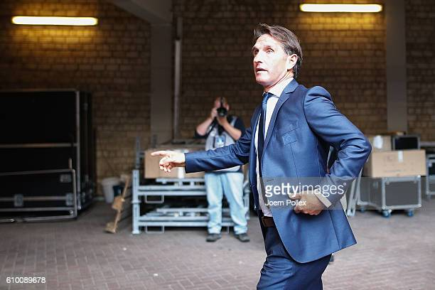 Head coach Bruno Labbadia of Hamburg is seen before the Bundesliga match between Hamburger SV and Bayern Muenchen at Volksparkstadion on September 24...