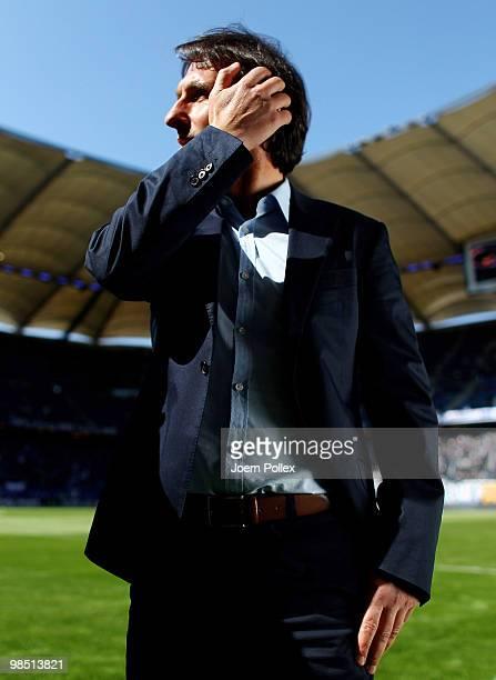 Head coach Bruno Labbadia of Hamburg looks on prior to the Bundesliga match between Hamburger SV and FSV Mainz 05 at HSH Nordbank Arena on April 17...