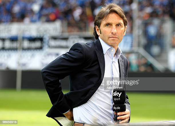 Head coach Bruno Labbadia of Hamburg reacts before the Bundesliga match between 1899 Hoffenheim and Hamburger SV at the RheinNeckar Arena on April 25...