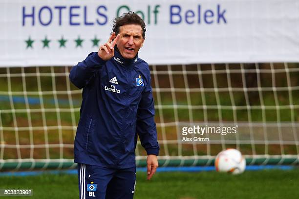 Head coach Bruno Labbadia of Hamburg reacts during a Hamburger SV training session on day 2 of the Bundesliga Belek training camps at Sueno Deluxe...