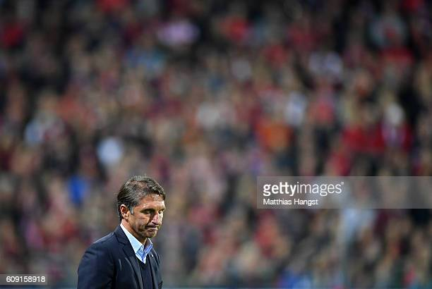 Head coach Bruno Labbadia of Hamburg shows his disappointment after the Bundesliga match between SC Freiburg and Hamburger SV at SchwarzwaldStadion...