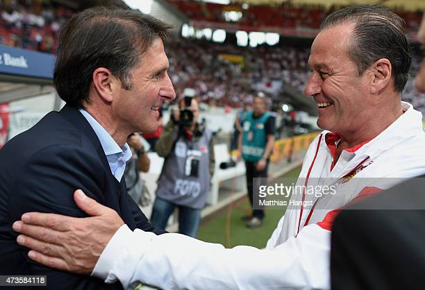 Head coach Bruno Labbadia of Hamburg welcomes ead coach Huub Stevens of Stuttgart prior to the Bundesliga match between VfB Stuttgart and Hamburger...