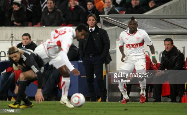 Head coach Bruno Labbadia of Stuttgart and manager Fredi Bobic watch the action during the Bundesliga match between VfB Stuttgart and FC Bayern...