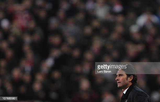Head coach Bruno Labbadia of Stuttgart looks dejected during the Bundesliga match between VfB Stuttgart and FC Bayern Muenchen at MercedesBenz Arena...
