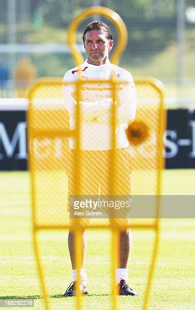 Head coach Bruno Labbadia of Stuttgart looks ons during a VfB Stuttgart training session at the club's premises on May 8 2013 in Stuttgart Germany
