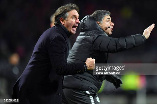 Head coach Bruno Labbadia of Wolfsburg celebrates after his team's second goal during the Bundesliga match between 1 FC Nuernberg and VfL Wolfsburg...