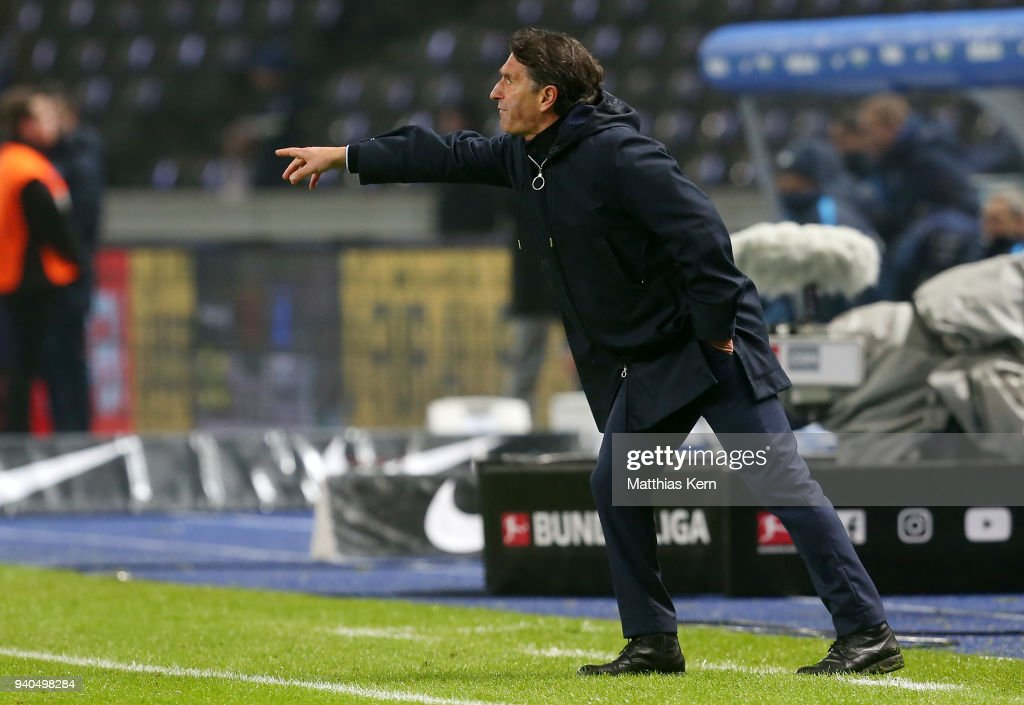 Head coach Bruno Labbadia of Wolfsburg gestures during the Bundesliga match between Hertha BSC and VFL Wolfsburg at Olympiastadion on March 31, 2018 in Berlin, Germany.