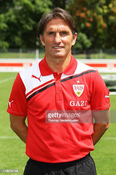 Head coach Bruno Labbadia poses during the VfB Stuttgart team presentation at Stuttgart's training ground on July 14 2011 in Stuttgart Germany