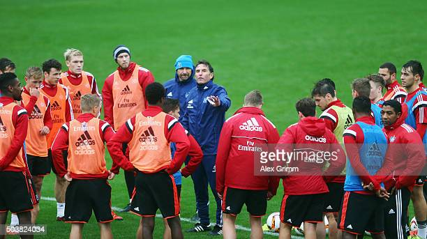 Head coach Bruno Labbadia talks to the players during a Hamburger SV training session on day 2 of the Bundesliga Belek training camps at Sueno Deluxe...