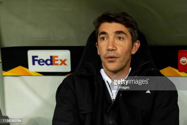 Head coach Bruno Lage of Benfica Lisabon looks on prior to the UEFA Europa League Quarter Final Second Leg match between Eintracht Frankfurt and...