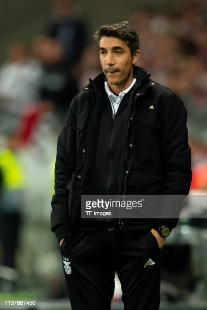 head coach Bruno Lage of Benfica Lissabon looks on during the UEFA Europa League Quarter Final Second Leg match between Eintracht Frankfurt and...