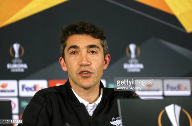 Head Coach Bruno Lage of Benfica makes a speech as he holds a press conference ahead of UEFA Europa League Round of 32 match between Galatasaray and...