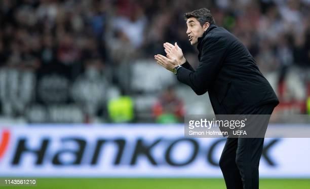 Head coach Bruno Lage of Lissabon gestures during the UEFA Europa League Quarter Final Second Leg match between Eintracht Frankfurt and Benfica at...