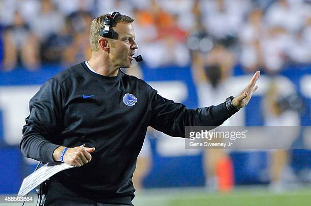 Head coach Bryan Harsin of the Boise State Broncos gestures from the sidelines during their game against the Brigham Young Cougars at LaVell Edwards...
