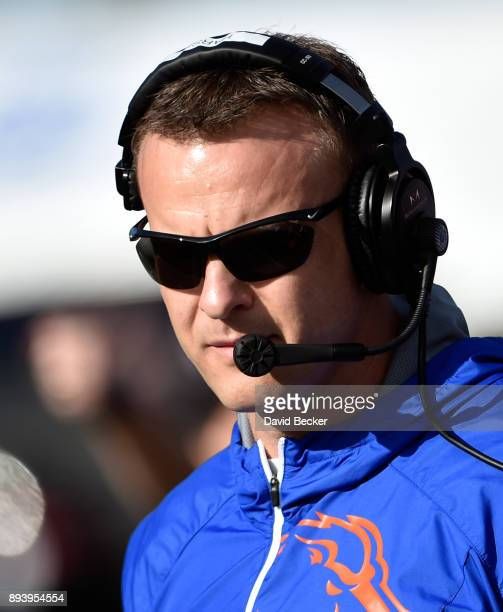 Head coach Bryan Harsin of the Boise State Broncos looks against the Oregon Ducks in the Las Vegas Bowl at Sam Boyd Stadium on December 16 2017 in...