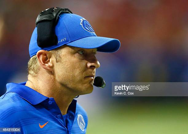 Head coach Bryan Harsin of the Boise State Broncos looks on during the game against the Mississippi Rebels at Georgia Dome on August 28 2014 in...