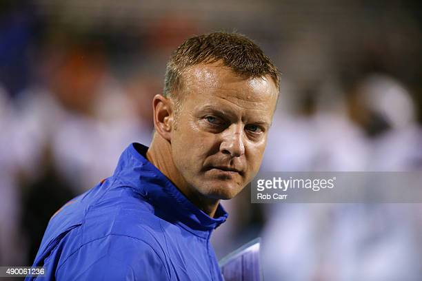 Head coach Bryan Harsin of the Boise State Broncos looks on during the fourth quarter of the Broncos 5614 win over the Virginia Cavaliers at Scott...