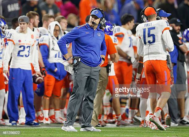 Head coach Bryan Harsin of the Boise State Broncos on the sidelines during the Vizio Fiesta Bowl against the Arizona Wildcats at University of...