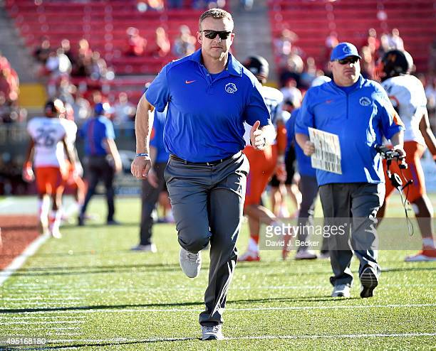 Head coach Bryan Harsin of the Boise State Broncos runs off the field during a game against the UNLV Rebels at Sam Boyd Stadium on October 31 2015 in...