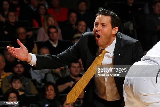 Head coach Bryce Drew of the Vanderbilt Commodores coaches during a 6453 loss to the Auburn Tigers at Memorial Gym on February 16 2019 in Nashville...