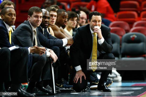 Head coach Bryce Drew of the Vanderbilt Commodores looks on against the North Carolina State Wolfpack during the HoopHall Miami Invitational at...
