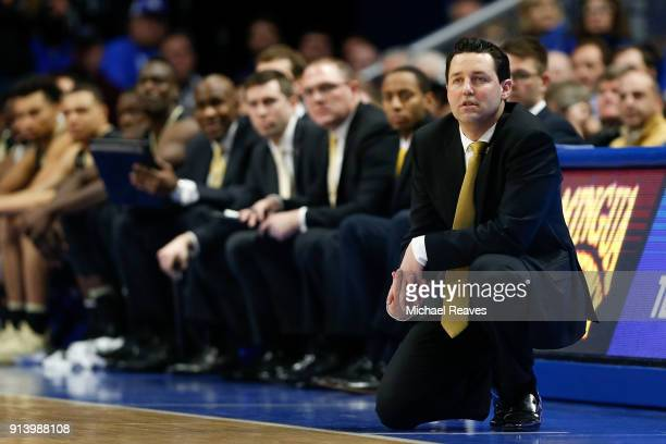 Head coach Bryce Drew of the Vanderbilt Commodores looks on against the Kentucky Wildcats during the second half at Rupp Arena on January 30 2018 in...