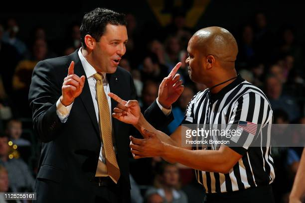 Head coach Bryce Drew of the Vanderbilt Commodores pleads with an official during the first half of a game against the Auburn Tigers at Memorial Gym...
