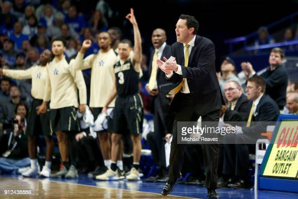 Head coach Bryce Drew of the Vanderbilt Commodores reacts after a basket against the Kentucky Wildcats during the second half at Rupp Arena on...