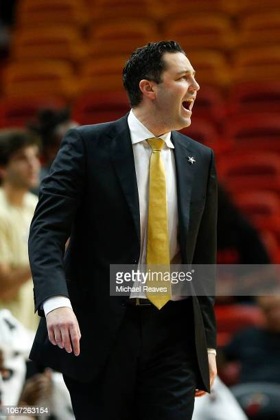Head coach Bryce Drew of the Vanderbilt Commodores reacts against the North Carolina State Wolfpack during the HoopHall Miami Invitational at...