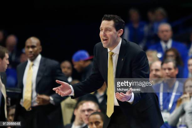 Head coach Bryce Drew of the Vanderbilt Commodores reacts against the Kentucky Wildcats during the second half at Rupp Arena on January 30 2018 in...