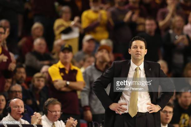 Head coach Bryce Drew of the Vanderbilt Commodores reacts during the second half of the college basketball game against the Arizona State Sun Devils...