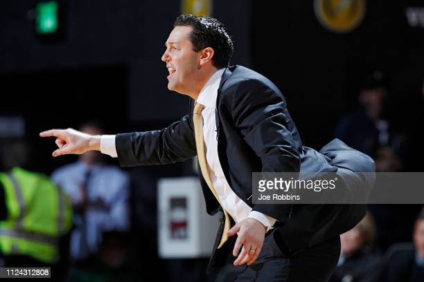Head coach Bryce Drew of the Vanderbilt Commodores reacts in the first half of the game against the Tennessee Volunteers at Memorial Gym on January...