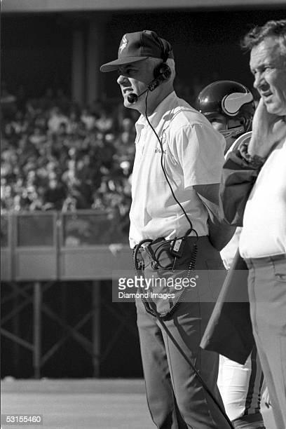 Head Coach Bud Grant of the Minnesota Vikings on the sidelines on December 2 1973 against the Cincinnati Bengals at Riverfront Stadium in Cincinnati...