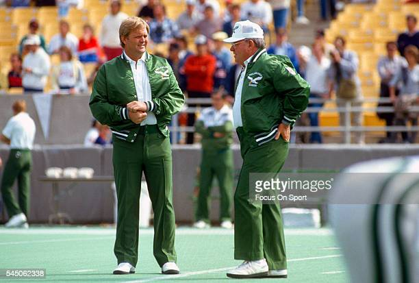 Head Coach Buddy Ryan of the Philadelphia Eagles looks on during pregame warm ups prior to the start of an NFL football game against the Chicago...