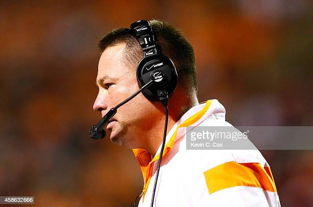 Head coach Butch Jones of the Tennessee Volunteers against the Alabama Crimson Tide at Neyland Stadium on October 25 2014 in Knoxville Tennessee