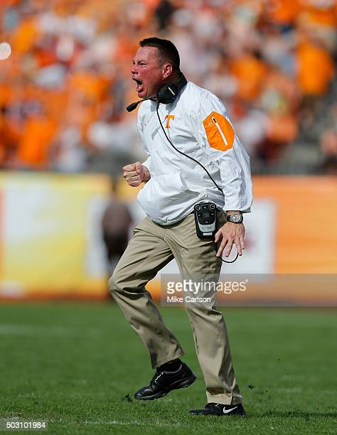 Head Coach Butch Jones of the Tennessee Volunteers celebrates a touchdown against the Northwestern Wildcats during the second half of the Outback...