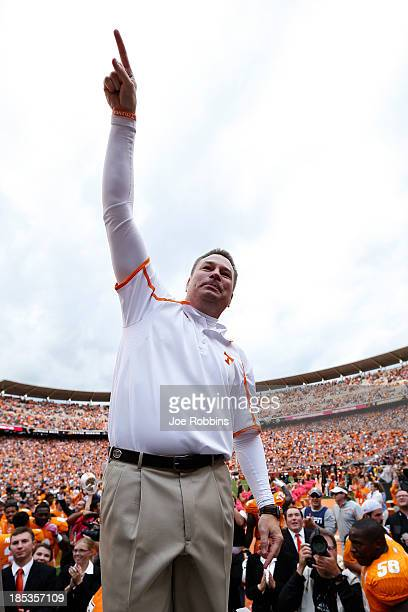 Head coach Butch Jones of the Tennessee Volunteers celebrates after the game against the South Carolina Gamecocks at Neyland Stadium on October 19...