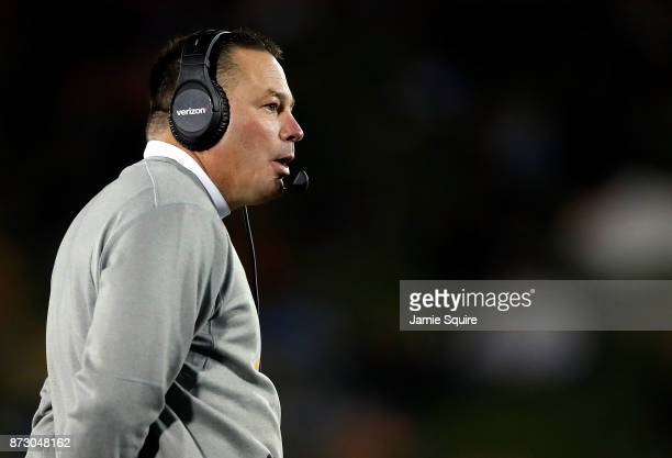 Head coach Butch Jones of the Tennessee Volunteers coaches from the sidelines during the game against the Missouri Tigers at Faurot Field/Memorial...