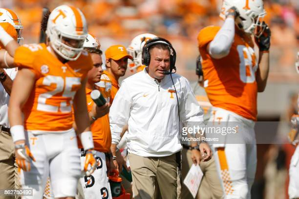 Head coach Butch Jones of the Tennessee Volunteers looks on against the South Carolina Gamecocks at Neyland Stadium on October 14 2017 in Knoxville...